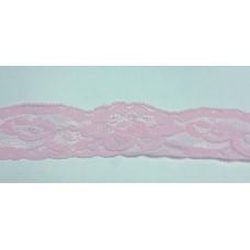 Кружево эластичное 4см (100м) розовый , Рул