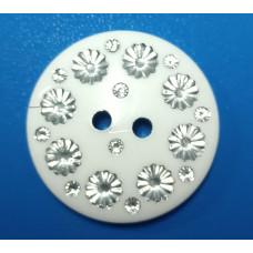 Пуговицы белые со стразами «цветок» 28мм 500 штук